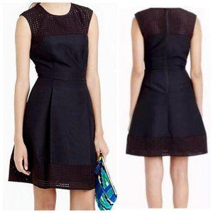 J Crew Black Silk Blend Dress w Lasercut Trim 00